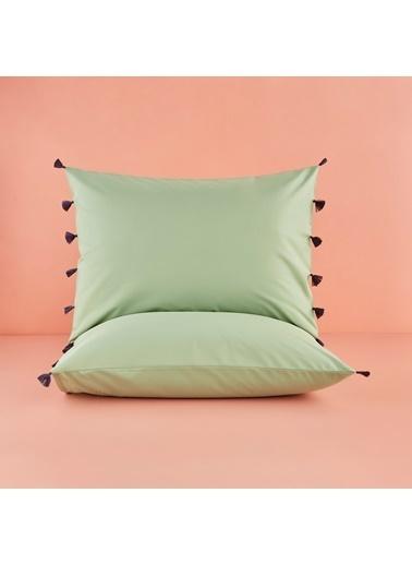 Bella Maison %100 Pamuk Tanora Püsküllü Yastık Kılıfı Yeşil 50x70 cm (2 adet) Yeşil